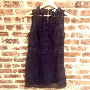 Navy Blue Crochet Mini Dress